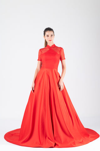 Qipology Short Sleeves Princess Qipao Gown – Qipology – Hong Kong Tailor Made Qipao Online Store