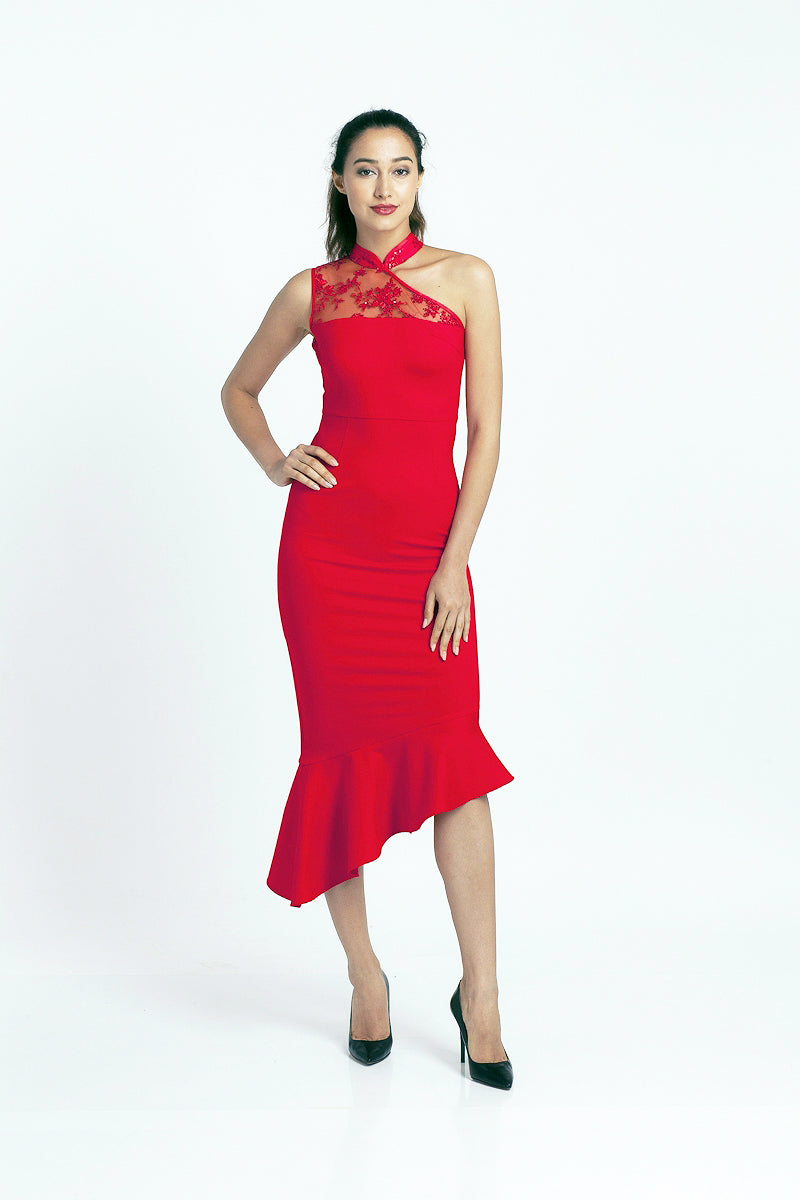 Qipology Asymmetrical Qipao Dress
