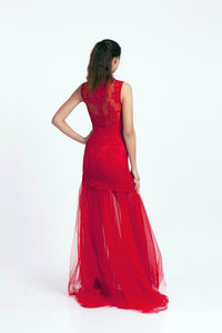 Qipology Red Bridal Qipao with Tulle