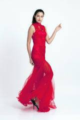 Qipology Red Bridal Qipao with Tulle – Qipology – Hong Kong Custom Made Modern Qipao Cheongsam