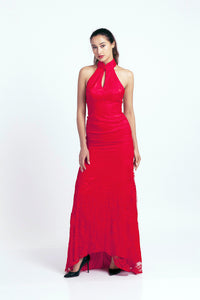 Qipology Red Bridal Qipao with Mermaid Cut