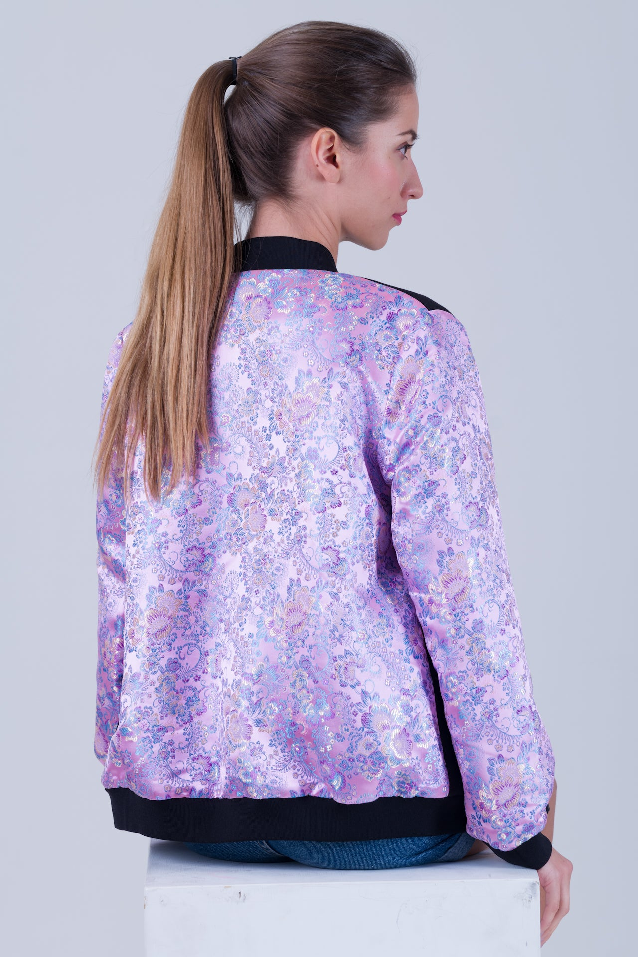 Qipology Reversible Oriental Bomber Jacket Brocade