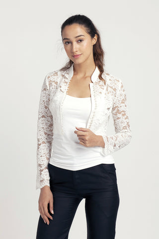 Qipology White Cropped Qipao Jacket  – Qipology – Hong Kong Tailor Made Qipao Online Store