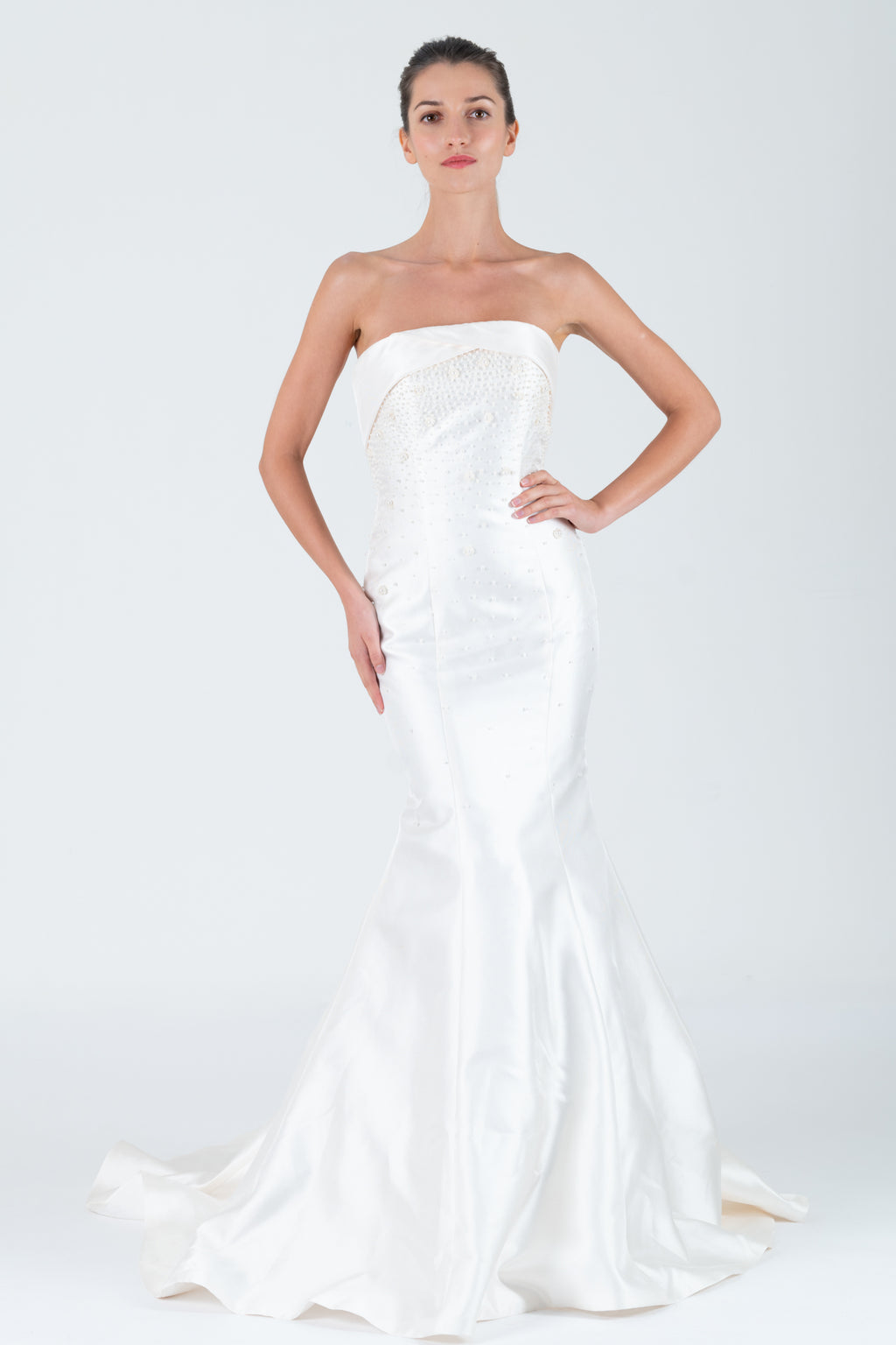 Qipology White Strapless Cuffed Embellished Trumpet Wedding Gown