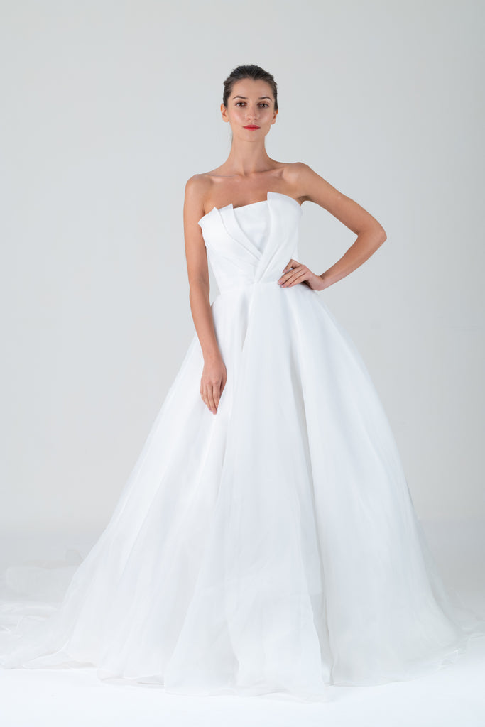 Qipology White Strapless Organza Ballgown Bridal Gown  – Qipology – Hong Kong Tailor Made Qipao Online Store