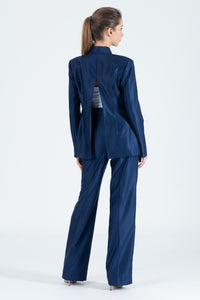 Qipology Aquilegi Open Back Mandarin Suit