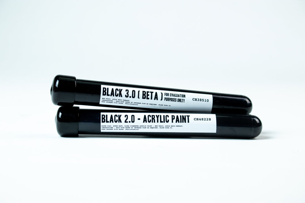 BLACK 3.0 BETA - evaluation batch - blackest black acrylic paint 20ml