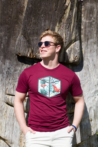 Box Tropical Tee - Burgundy