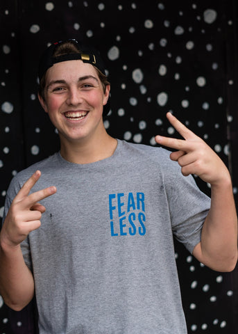Fearless Wavy Tee (Blue on Gray)
