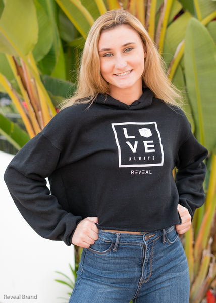 Love Always Crop Hoodie (Black)