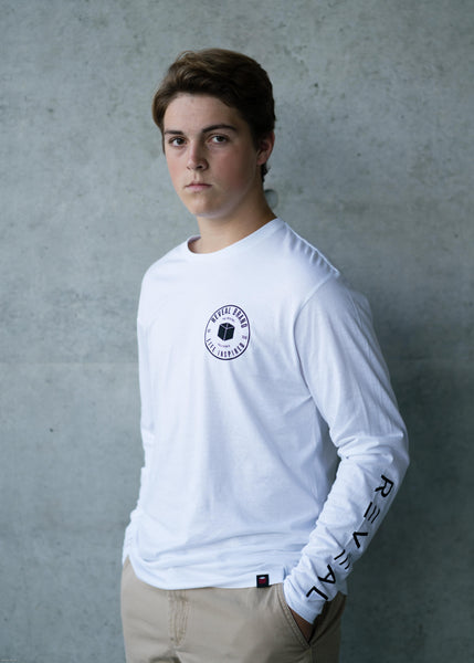 Long Sleeve Stamp tee - White