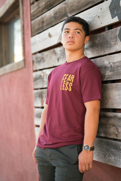 Fearless Wavy Tee (Gold on Burgundy)