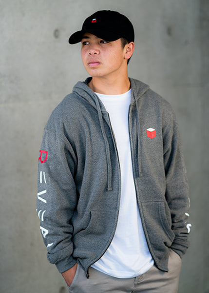 Zip-up Fleece Hoodie Gray