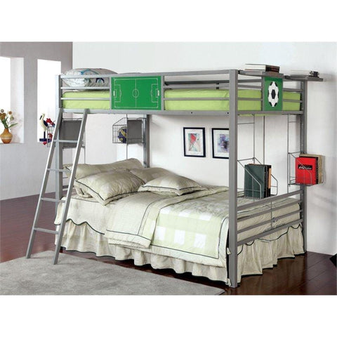 Furniture of America Denver Transitional Style Silver Metal Bunk Bed