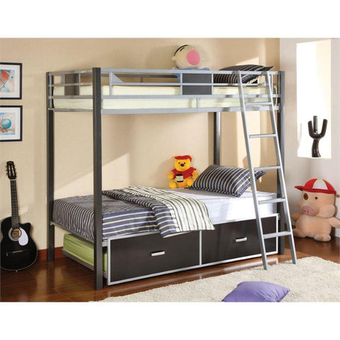 Furniture of America Reuben Contemporary Style Twin Over Twin Bunk Bed
