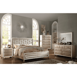 Acme Voeville Matte Gold PU & Antique Gold Finish 6 Piece Bedroom Set