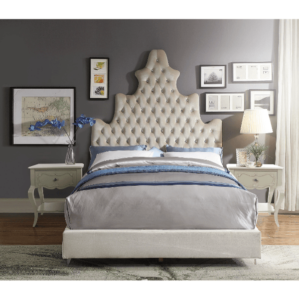 Acme Honesty Sand Plush and Pearl White 2 Piece Bedroom Set - Comfy Kids Bedroom