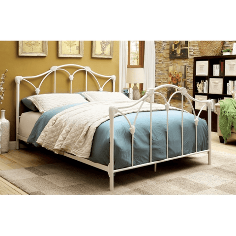 Furniture of America Terrence Contemporary White Metal Bed