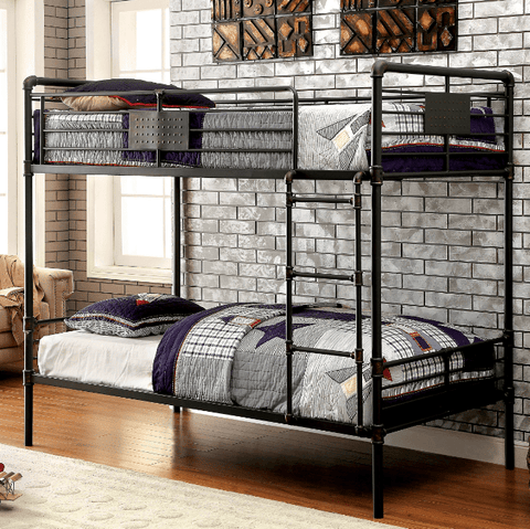 Furniture of America Coen Antique Black Twin over Twin Bunk Bed