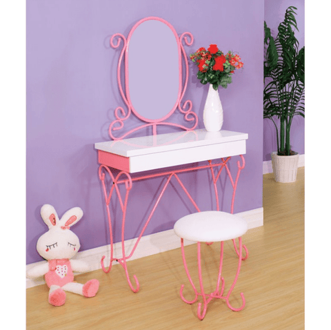 Furniture of America Alvaro Contemporary Style Vanity with Stool Set