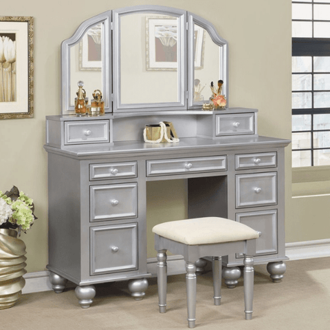 Furniture of America Elsabeth Transitional Style Vanity Table & Stool