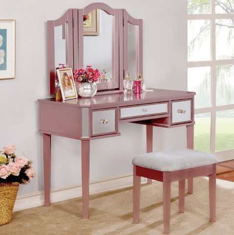 Furniture of America Alma Contemporary Style Vanity Table & Stool