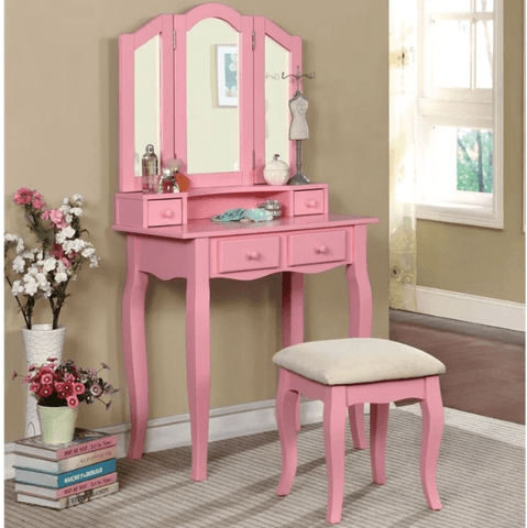 Furniture of America Anais Transitional Style Vanity Table & Stool