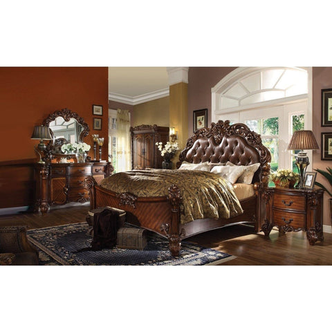 Acme Vendome Cherry PU 6 Piece Bedroom Set