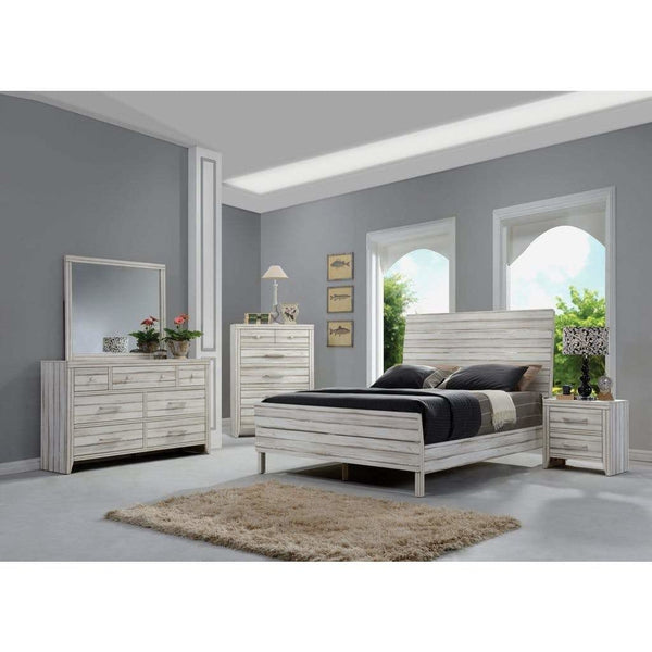 Acme Shayla Antique White Finish 5 Piece Bedroom Set