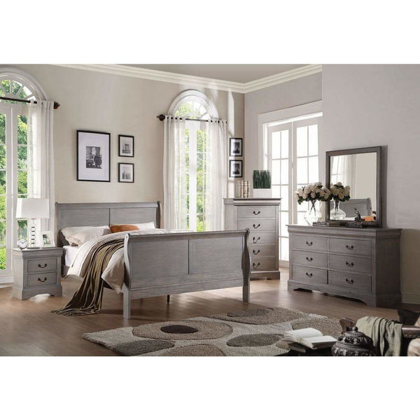 Acme Louis Philippe III Antique Gray 4 Piece Bedroom Set - Comfy Kids Bedroom