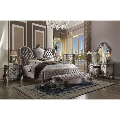 Acme Versailles Velvet and Antique Platinum Finish 8 Piece Bedroom Set