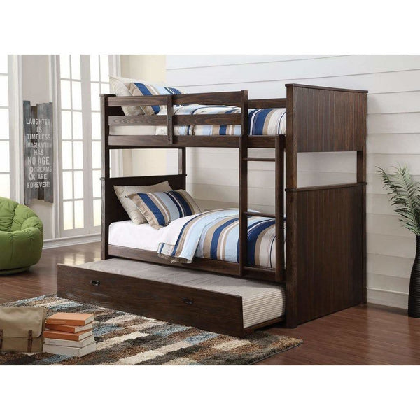 Acme Hector Antique Charcoal Brown 4 Piece Twin Over Twin Bedroom Set - Comfy Kids Bedroom
