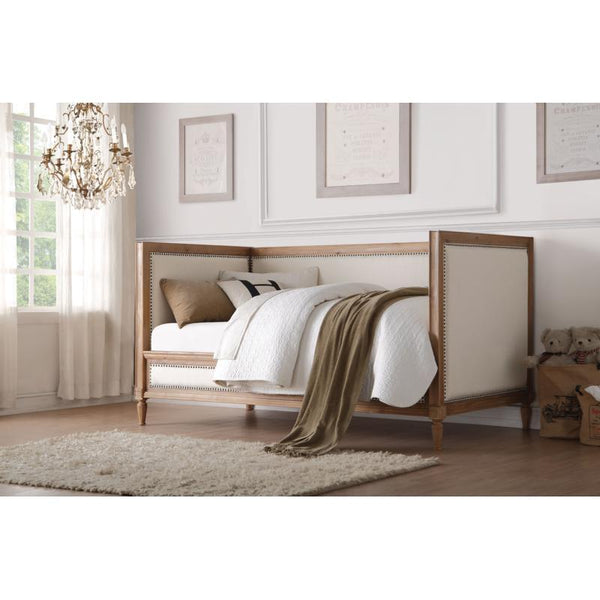 Acme Charlton Cream Linen and Salvage Oak Finish 39175 Daybed - Comfy Kids Bedroom