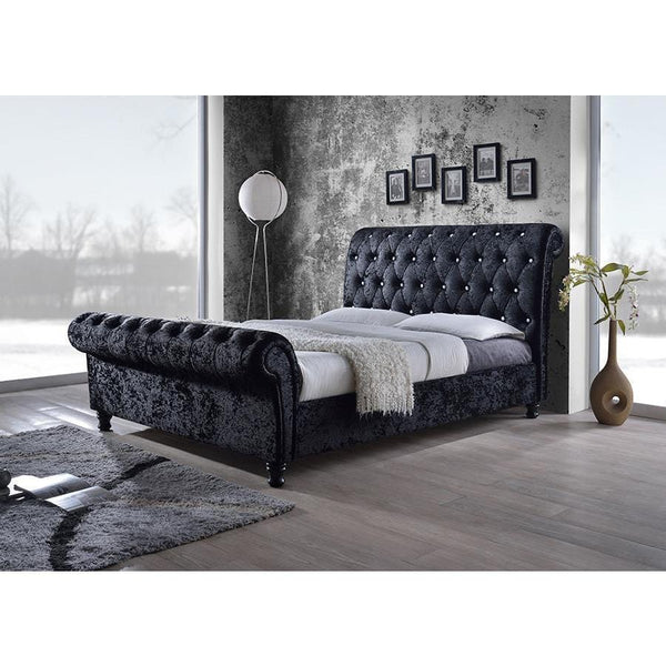 Baxton Studio Castello CF8539 Black Queen Size Platform Bed - comfykidsbedroom.com