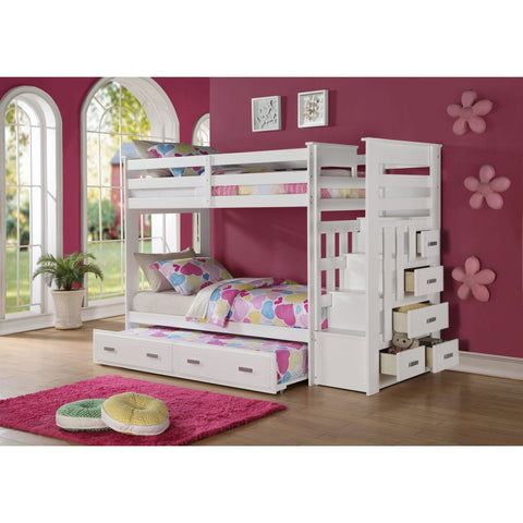 Acme Allentown 37370 White Twin over Twin Bunk Bed with Trundle - comfykidsbedroom.com
