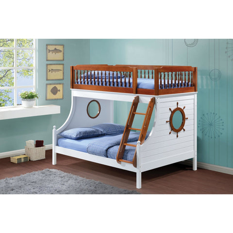 Acme Farah Brown and White 37600 Twin over Full Bunk Bed - comfykidsbedroom.com