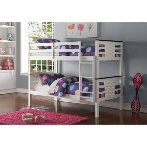 Acme Florrie White 37745 Twin over Twin Bunk Bed - comfykidsbedroom.com