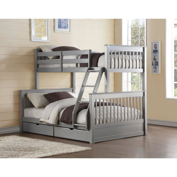 Acme Haley II Gray 37755 Twin over Full Bunk Bed with Drawers - comfykidsbedroom.com