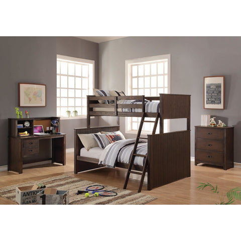 Acme Hector Antique Charcoal Brown 38020 Twin over Full Bunk Bed - comfykidsbedroom.com