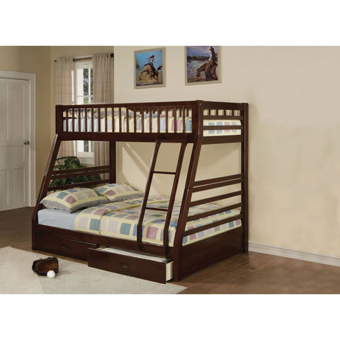 Acme Jason Espresso 02020 Twin over Full Bunk Bed with Drawers - comfykidsbedroom.com