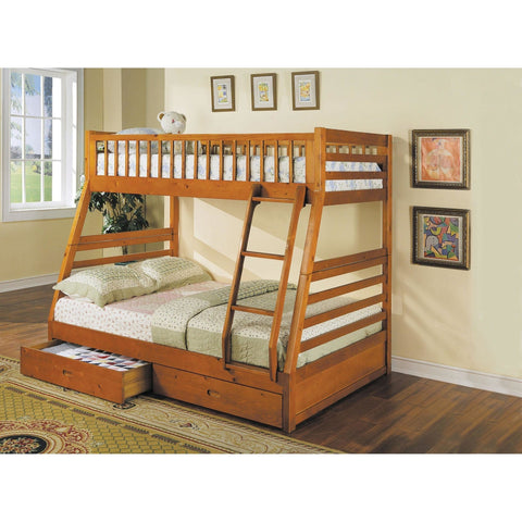 Acme Jason Honey Oak 02018 Twin over Full Bunk Bed with Drawers - comfykidsbedroom.com