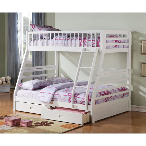 Acme Jason White 37040 Twin over Full Bunk Bed with Drawers - comfykidsbedroom.com