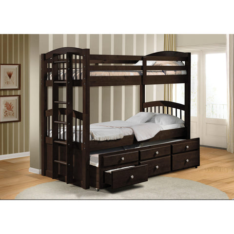Acme Furniture Bunk Beds Micah Espresso Twin over Twin Bunk Bed with Trundle and 3 Drawers