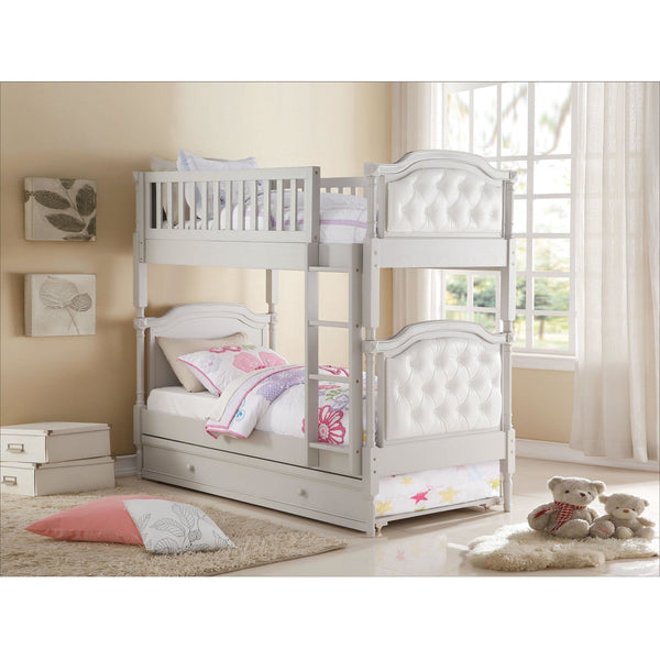 Acme Pearlie Gray 37690 Twin over Twin Bunk Bed with Trundle - Comfy Kids Bedroom