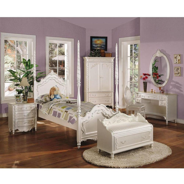 Acme Pearl 01000 White Gold Accent Post Bed - Comfy Kids Bedroom