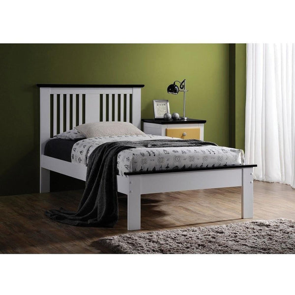Acme Brooklet White and Black Solid Wood 25455 Panel Bed - comfykidsbedroom.com