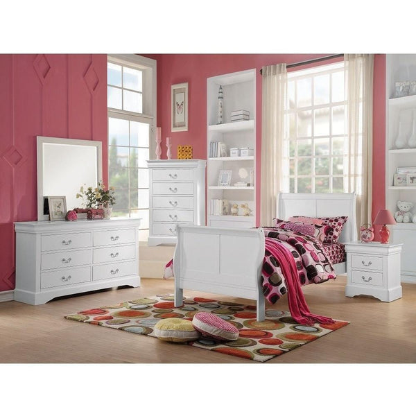 Acme Louis Philippe III White Pine Wood 24515 Teenage Sleigh Bed - comfykidsbedroom.com