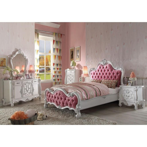 Acme Versailles White/Pink 30645 Teenage Sleigh Bed - bedsville.com
