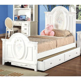 Acme Flora White Solid Wood 01680 Trundle Bed - comfykidsbedroom.com