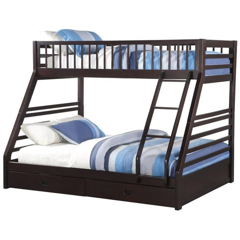 Acme Jason Espresso 37425 Twin over Queen Bunk Bed with Drawers - comfykidsbedroom.com